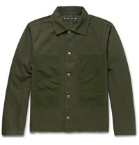 Sasquatchfabrix. Aquatchfabrix. Korouna Embroidered Herringbone Cotton Jacket Army Green