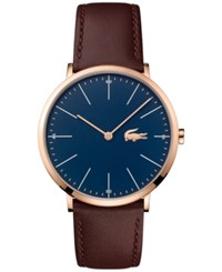 Lacoste Men's Moon Brown Leather Strap Watch 40Mm 2010871 Blue