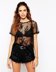Glamorous Oversize T Shirt In Sheer Lace With Scallop Hem Black
