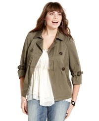 American Rag Plus Size Military Double Breasted Jacket Dusty Olive