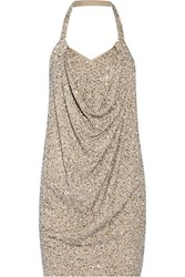 Haute Hippie Sequined Modal And Cotton Blend Halterneck Mini Dress Nude