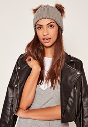 Missguided Double Pom Beanie Hat Grey