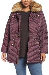 Laundry By Shelli Segal Plus Size Women's Quilted Parka With Faux Fur Trim Wildberry