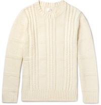 Gant Rugger Cable Knit Wool And Cotton Blend Sweater Crea Cream