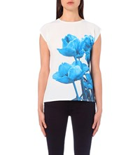 Ted Baker Jee Blue Beauty Crepe And Jersey T Shirt White