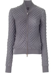 Emporio Armani Textured Zip Sweater Grey