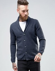 Asos Lambswool Rich Shawl Neck Cardigan Navy