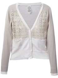 Antipast Lace Insert Cardigan Nude And Neutrals