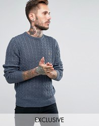 Farah Jumper With Cable Knit Exclusive Blue Heaven