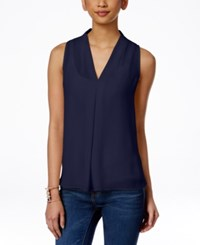 Vince Camuto Sleeveless Inverted Pleat Blouse Evening Navy