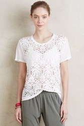Anthropologie Lace Crewneck Tee White