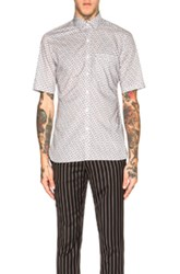 Lanvin Slim Fit Short Sleeve Shirt In Gray Abstract