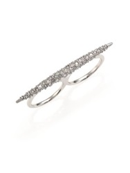 Alexis Bittar Miss Havisham Crystal Spear Two Finger Ring Silver