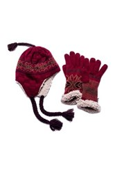 Muk Luks Traditional Helmet And Faux Fur Gloves Set Red