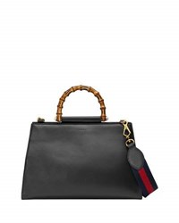 Gucci Nymphea Medium Bamboo Handle Tote Bag Black Red Black Red