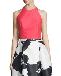 Halston Sleeveless Structured Crop Top Coral