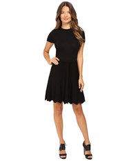 Red Valentino Stretch Viscose Dress With Point D'esprit And Scallop Detail Black