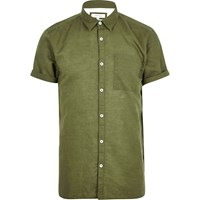 River Island Mens Green Linen Rich Short Sleeve Shirt