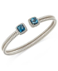 Macy's London Blue Topaz 3 1 4 Ct. T.W. And White Topaz 1 3 Ct. T.W. Bangle Bracelet In Sterling Silver