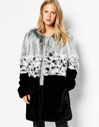 Urbancode Coat In Mix Match Fur Blackgrey