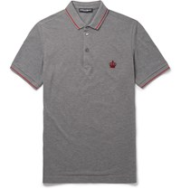 Dolce And Gabbana Slim Fit Cotton Pique Polo Shirt Gray