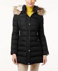 Inc International Concepts Faux Fur Trim Hooded Puffer Coat Only At Macy's Black