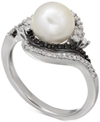 Macy's Freshwater Pearl 8Mm And Diamond 1 3 Ct. T.W. Ring In Sterling Silver