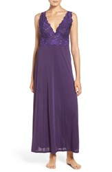 Natori Women's 'Aphrodite Zen' Floral Lace Trim Nightgown Royal Purple