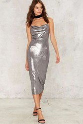 Perfect Storm Metallic Midi Dress Silver