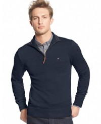 Tommy Hilfiger Signature Solid Quarter Zip Sweater Navy Blazer