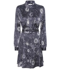 Ganni Iona Printed Silk Satin Shirt Dress Blue