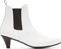 Comme Des Garcons White Leather Kitten Heel Chelsea Boots