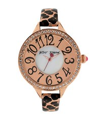 Betsey Johnson Ladies Crystallized Rose Goldtone And Black Watch Leopard