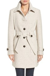 Gallery Women's Belted Tweed Coat Oatmeal