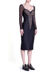 Stella Mccartney Small Rose Lace Cocktail Dress Black