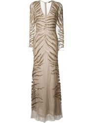 Roberto Cavalli Beaded Embroidery Gown Nude And Neutrals