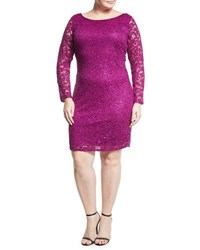 Marina Plus Long Sleeve Lace Overlay Sheath Dress Magenta