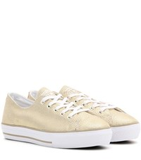 Converse High Line Metallic Leather Sneakers Gold