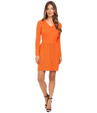 Boutique Moschino Long Sleeve Ribbed Dress Orange Women's Dress