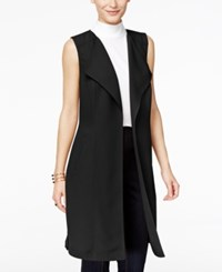 Inc International Concepts Petite Open Front Trench Vest Only At Macy's Deep Black