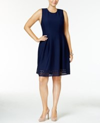 Monteau Trendy Plus Size Laser Cutout Fit And Flare Dress Navy Blue