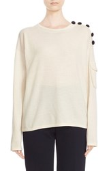See By Chloe Women's Button Shoulder Merino Wool Sweater Off White