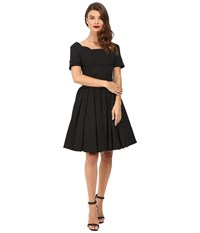 Unique Vintage Cap Sleeve Scallop Roman Holiday Dress Black Pin Dot Women's Dress