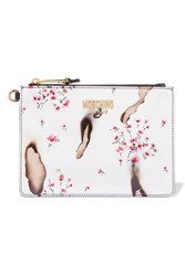 Moschino Printed Patent Leather Clutch White