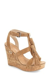 Women's Guess 'Heya' Tassel Cork Wedge Sandal 4' Heel