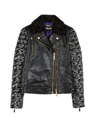 Just Cavalli Leather Body Bike Jacket Black