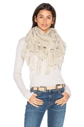 Hat Attack Fringe Double Loop Scarf Beige