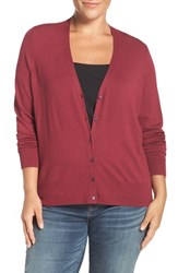 Sejour Plus Size Women's V Neck Cardigan Burgundy Rhode