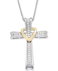 Macy's Diamond Cross Pendant Necklace 1 10 Ct. T.W. In 14K White And Yellow Gold Two Tone