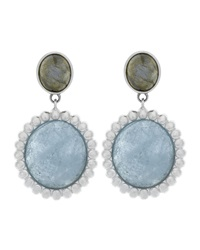 Slane Nuage Double Drop Milky Aquamarine And Labradorite Earrings